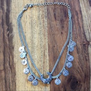 Jewelry - Silver Moon and Coin Choker